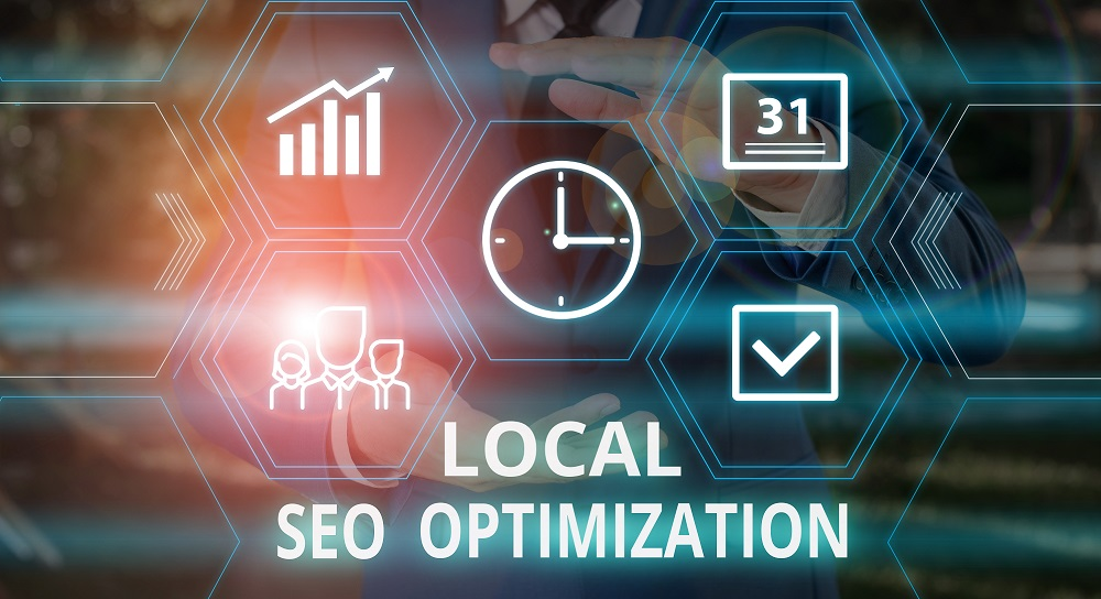 Word writing text Local Seo Optimization. Business concept for increase Search Visibility to Rank on Top list Male human wear formal work suit presenting presentation using smart device.